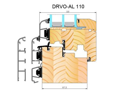 Prozor drvo aluminij Termo 110 presjek domet.hr